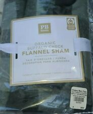 2pc Set Pottery Barn Teen Buffalo Check Organic Flannel Light Gray Shams