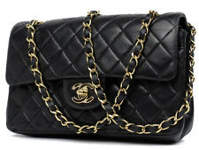 "CHANEL VINTAGE Black CLASSIC LAMBSKIN DOUBLE FLAP 9"" inch COCO SHOULDER BAG"