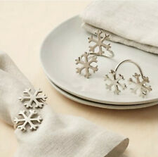 Crate & Barrel Double Silver Snowflake Napkin Rings ( Set Of 6 )