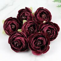 "20P 2"" Artificial Silk Rose Bud Flowers Heads Bulk Fake Camellia/Peony Burgundy"