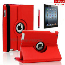 Apple iPad Mini 1 2 - Red 360° Rotating Stand Leather Case with wake/sleep +Film