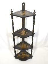 More details for antique chinese ebonized wood whatnot stand c1900