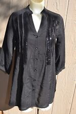 Love Stitch Womens 3/4 sleeve Black button front Sequins Shirt Top Blouse Size S
