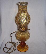 Fostoria Glass Golden Amber Tall Electric Oil Lamp Glass Coin Pattern