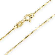 14K Yellow Gold Solid Box Pendant Chain .5mm wide 16 inch w/ Spring Ring Clasp