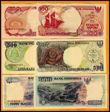 INDONESIA 100-500-1000 RUPIAH 1992/94 UNC
