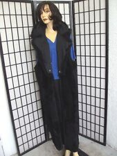 MINT BLACK SHEARED RABBIT FUR LONG VEST BLACK OPPOSSUM OPOSSUM COLLAR WOMEN 10