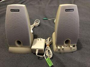 Harmon Kardon HK195 Multimedia Desktop Computer Speakers Beige (Tested & Works)