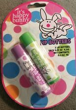 Happy Bunny lip butter DUO~Watermelon & Island punch~RARE VINTAGE COLLECTIBLE