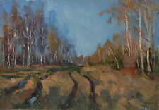 Russian oil hardboard  Impressionism Painting Landscape 2009 Gordeeva