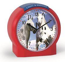Réveil quartz enfant, rouge, motif chevaux blancs, éclairage Atlanta 1189/1 Neuf