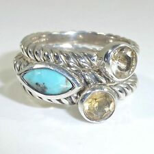 Lori Bonn Turquoise Stackable Blue Ring Set of Three Sz 6 925 Sterling Silver