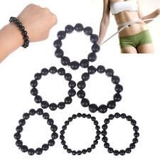 Hand Bracelet Natural Bianshi Beads Black stone Needle Women Men charm 8mm-1^SL