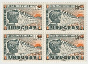 Set 1959 Uruguay - National Recovery - Block of 4 x 60+10 C Stamps