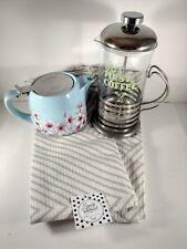 Alfred French Press Coffee Maker Ceramic Teapot Tea Towels FabFitFun Box