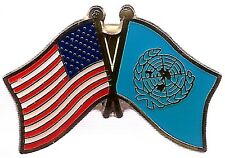 Lot Of 3 United Nation Friendship Flag Lapel Pins - Un Crossed Flag Pin