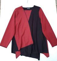 AHNI Size 2 Burgundy Black Contrast Panels TunicTop Art to Wear Lagenlook
