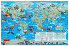 "Cool Owl Maps Dinosaur World Wall Map Poster 36""x24""  Rolled Laminated - 2017"