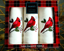 Avanti Christmas Set Of 3 Fingertip Towels Embroidered Cardinal New