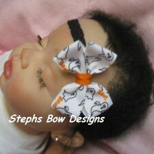 Halloween Boo Dainty Hair Bow Headband Fits Preemie to Toddler