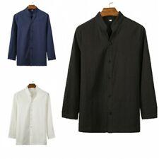 Men's Casual Shirt Tops Cotton Linen Blouses Plain Chinese style Button Front L