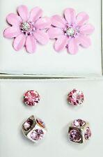 3 pair light pink stud earrings 1 flower 15mm 1 cube 7mm 1 crystal 4mm