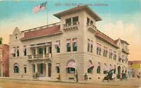 DB Postcard CA D554 City Hall Pasadena Old Cars People Flag Cancel 1921 Mitchell