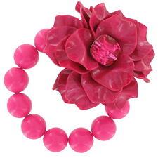 Big Chunky Fuschia Pink Flower Lucite Rhinestone Beaded Stretch Bracelet