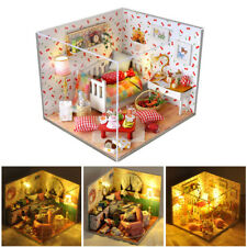 Wood Dollhouse Miniature DIY House Kit Toy Dolls Room W/ Cover and LED Light