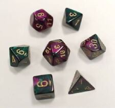 Polyhedral 7-Die Gemini Dice Set Green & Purple with Gold Numbers CHX 26434