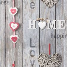 LOVE YOUR HOME GREY RED WOOD PANEL SHABBY CHIC WALLPAPER FINE DECOR FD41718