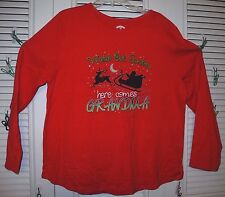 WATCH OUT SANTA HERE COMES GRANDMA LONG SLEEVE RED TEE XL NEW WITH TAG! LAST ONE
