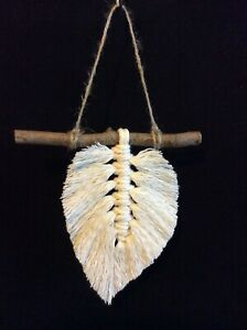 Handmade macrame leaf feather wall hanging cotton jute birthday gift wooden new