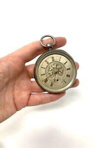 Antique Edwardian C1913 Solid Silver Dial Key Wind Gents Pocket Watch #1137