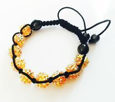 """USA"" Bracelet Rhinestone Crystal Ball Adjustable Handmade Shambala Orange AB"