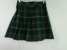 Becky Thatcher Skirt School Uniform Size 9 Green Black Yellow Red Plaid Pleated