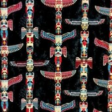 Totem Pole Native American Artifacts Charcoal Cotton Fabric by the Yard