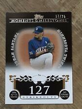 JOHAN SANTANA 2008 Topps Moments & Milestones Black #87  17/25 SP 127 Strikeouts