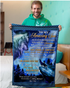 Wolf blanket from Mom to Amazing Son, To the moon & back, Fleece, Quilt Blanket