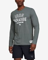 Under Armour X Project Rock Mens Iron Paradise Top Gray T-SHIRT Multi sizes