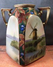 Antique Nippon Morimura Double Handle Vase HP Windmill Boat Scene Flat Sided 10W