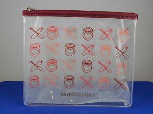 Bareminerals Rose Printed Clear Plastic Signature Zip Top Cosmetic Makeup Bag