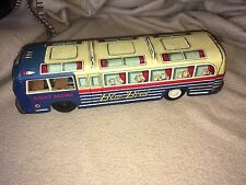 RARE Blue Bird Sight Seeing TIN LITHO TOURING BUS Friction BLUE  YELLOW Works