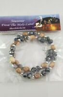 Genuine Olive Wood Holy Land Bethlehem Souvenir Catholic Bracelet BLACK beads