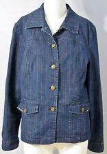 LINDOR Petite Size 12 Blue Denim Button Front Blazer