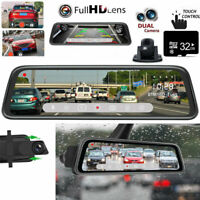 "10"" HD 1080P Car Rear View Mirror DVR Camera Dash Cam Night Dual Lens + 32GB"