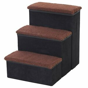 Storage Box Steps Bed Sofa Pet Dog Cat Stairs Get Down Assistance Ledge Black