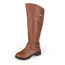 Womens Boots Knee High Fashion Riding Low Heels Stylish Faux Leather Shoes Size