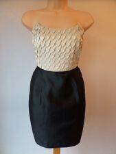 REISS PRINCESS CREAM BLACK PLEAT BUSTIER CORSET SILK PENCIL DRESS TWICE 8 £179