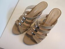 """JANE DEBSTER SIZE 9.5B NUDE PATENT LEATHER """"EXPOSE"""" WEDGE STYLE SANDALS"""
